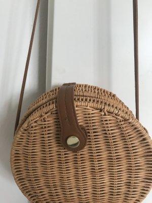Zara Bolso tipo cesta marrón claro-crema