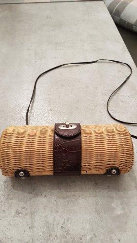Bolso tipo cesta marrón-beige