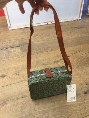 Made in Italy Bolso tipo cesta caqui-marrón