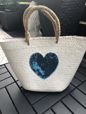Panier blanc-bleu fluo