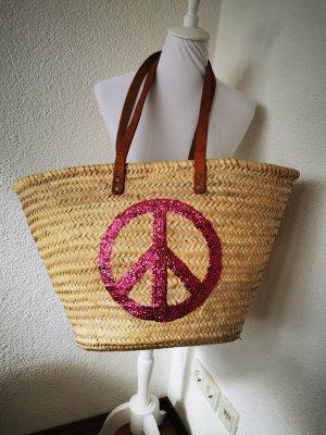 buckle up Basket Bag cream-neon pink