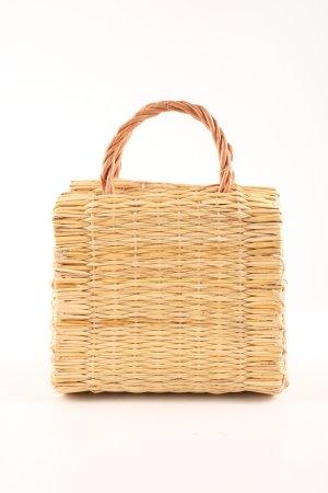 Bolso tipo cesta marrón arena-marrón claro Patrón de tejido Estilo playero