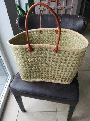 Bolso tipo cesta marrón claro-beige claro