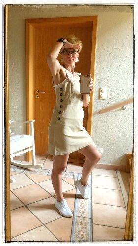 MNG Salopette-jupe crème velours côtelé