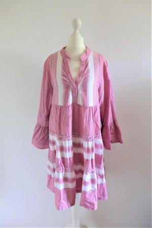 Kori Boho Ibiza griechisch Sommer Kleid Langarm weiß rot Gr. S 36/38