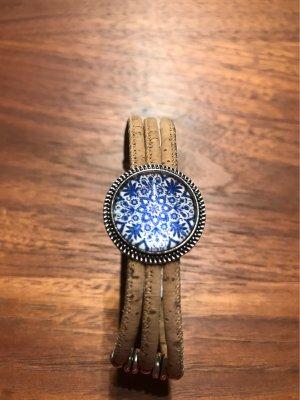 0039 Italy Bracelet light brown-blue