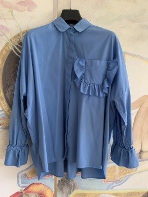 Uterqüe Oversized Blouse cornflower blue cotton