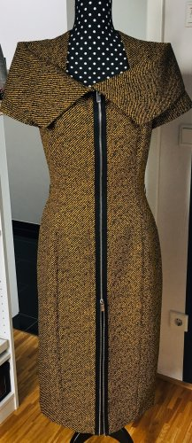 Kors Couture - Etuikleid Wolle mustard schwarz