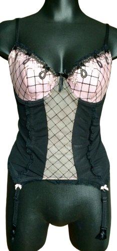 Ann Summers Corsage zwart-stoffig roze
