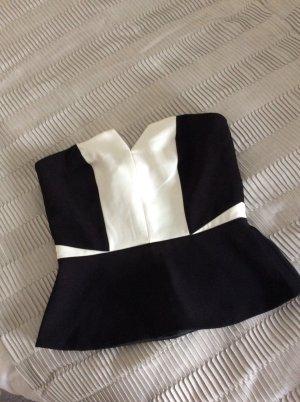 H&M Haut bustier noir-blanc