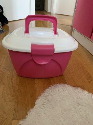 Kosmetikkoffer pink weiß aus  Schminkkoffer