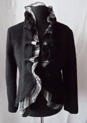Kosmika Blazer aus Wolle mit Rüschen Gr. M Schwarz