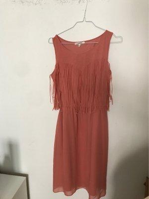 koton kleid mit fransen rosa