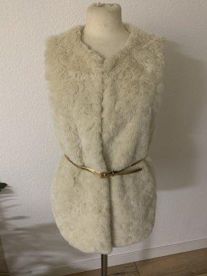 Koton Vest van imitatiebont wolwit-room