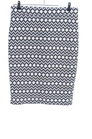 Koton Stretch rok wit-zwart grafisch patroon zakelijke stijl