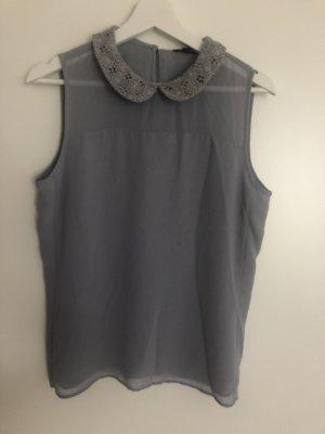 Ann Taylor Blusa sin mangas gris claro-gris