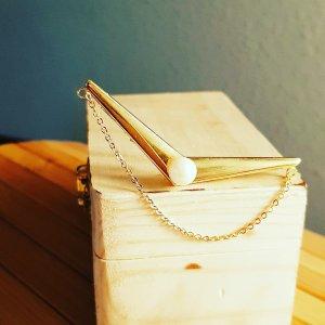 Kragenecke vergoldet mit Perle, 62mm