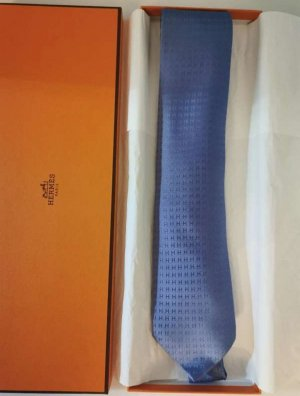 Hermès Cravate ascot bleu