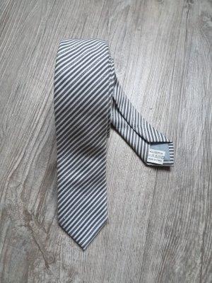 Krawatte Schmal Schlips gestreift grau weiß Glitzer