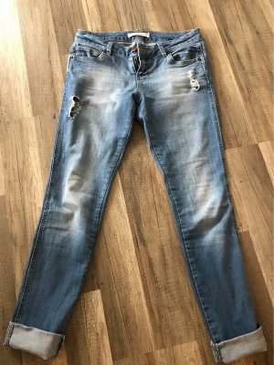 Jeans 7/8 bleu azur