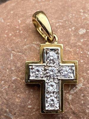 Kreuz Anhänger 750er Gold mit Brillanten