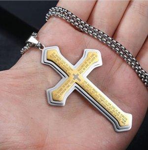 Kreuz Anhänger aus Chirurgenstahl mit Kette (NEU)