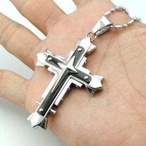 Kreuz Anhänger aus schwarzem Chirurgenstahl