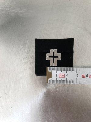 Kreuz, Anhänger mit Diamanten in 585 er Weissgold