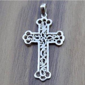 Kreuz Echt Sterling Silber 925 Anhänger Religiös Handmade Schmuck Neu