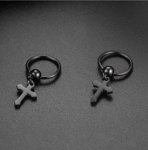 Kreuz Ohrringe aus schwarzem Stahl(neu)