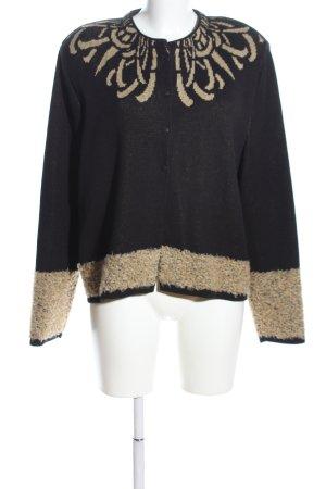 KRISS Strick Cardigan schwarz-wollweiß abstraktes Muster Casual-Look