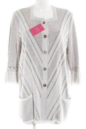 Kriss Sweden Cardigan wollweiß grafisches Muster Casual-Look