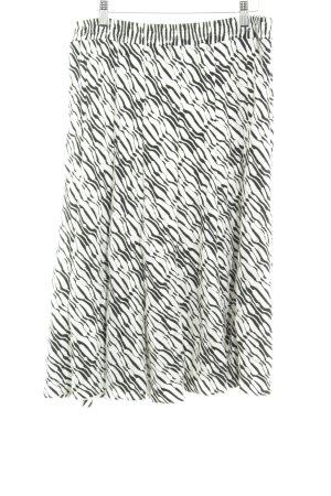 Kriss Sweden Midirock weiß-schwarz abstraktes Muster extravaganter Stil