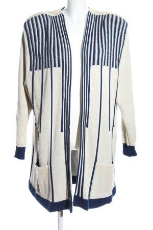 Kriss Sweden Abrigo de punto blanco puro-azul estampado a rayas look casual