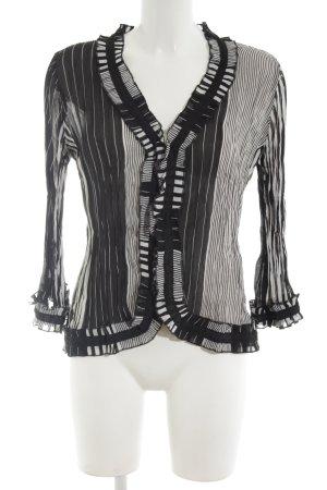 KRISS Transparenz-Bluse schwarz-weiß Streifenmuster Casual-Look