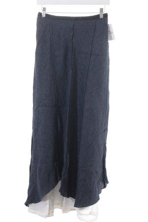 Krizia Maxi rok donkerblauw-wit gestippeld elegant
