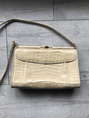 Krokodil-Lederhandtasche beige/creme IRV