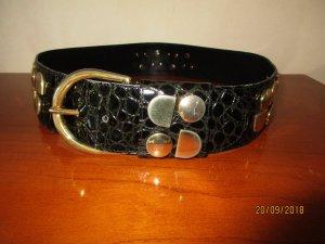 Adolf Leather Belt black-gold-colored leather