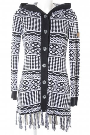 KRS & Co Cardigan schwarz-weiß grafisches Muster Casual-Look