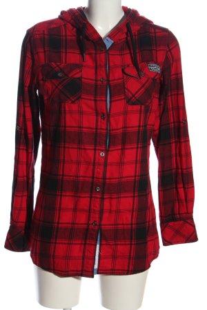 KRS & Co Camisa de leñador negro-rojo estampado a cuadros look casual