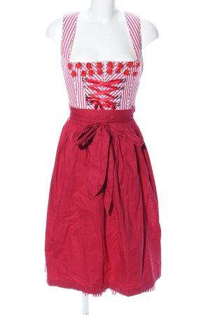 Krüger Dirndl Dirndl rosso-bianco motivo a righe stile casual