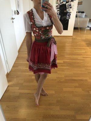 Krüger Dirndl xs s 34 36 tracht Kleid rot grün Khaki Sommer Blumen wiesn