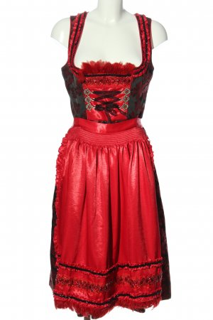 Krüger feelings Dirndl rosso-nero motivo floreale stile classico