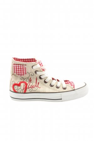 Krüger High Top Sneaker natural white-red check pattern casual look