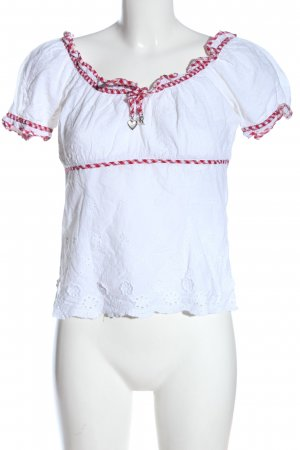 Krüger Short Sleeved Blouse white-red check pattern casual look