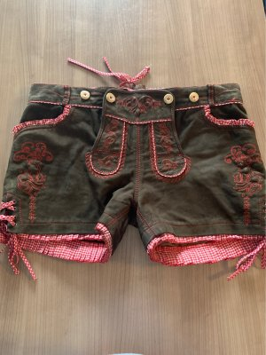 Krüger Dirndl Pantalon traditionnel en cuir multicolore