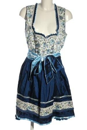 Krüger MADL Dirndl blue-natural white flower pattern elegant