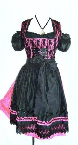 Krüger Madl Dirndl GR 42 M pink-schwarz mit Spitze - komplett mit Bluse und Schürze