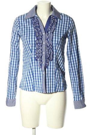 Krüger MADL Chemise bavaroise blanc-bleu motif à carreaux élégant