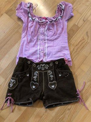 Krüger Pantalón de cuero tradicional color bronce-rosa neón Cuero